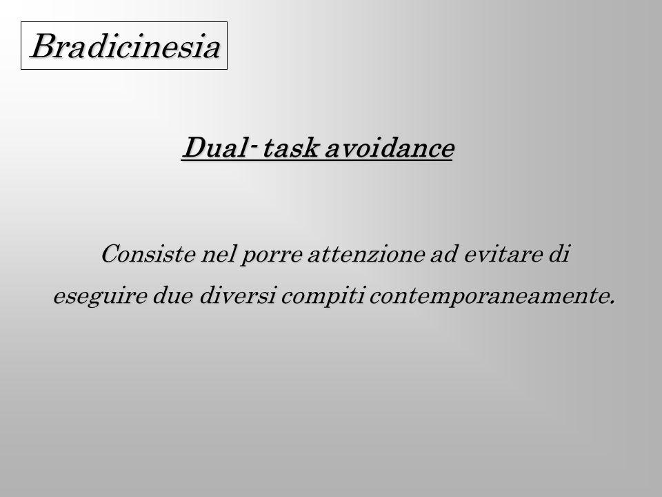 Dual- task avoidance Consiste nel porre attenzione ad evitare di eseguire due diversi compiti contemporaneamente. Bradicinesia