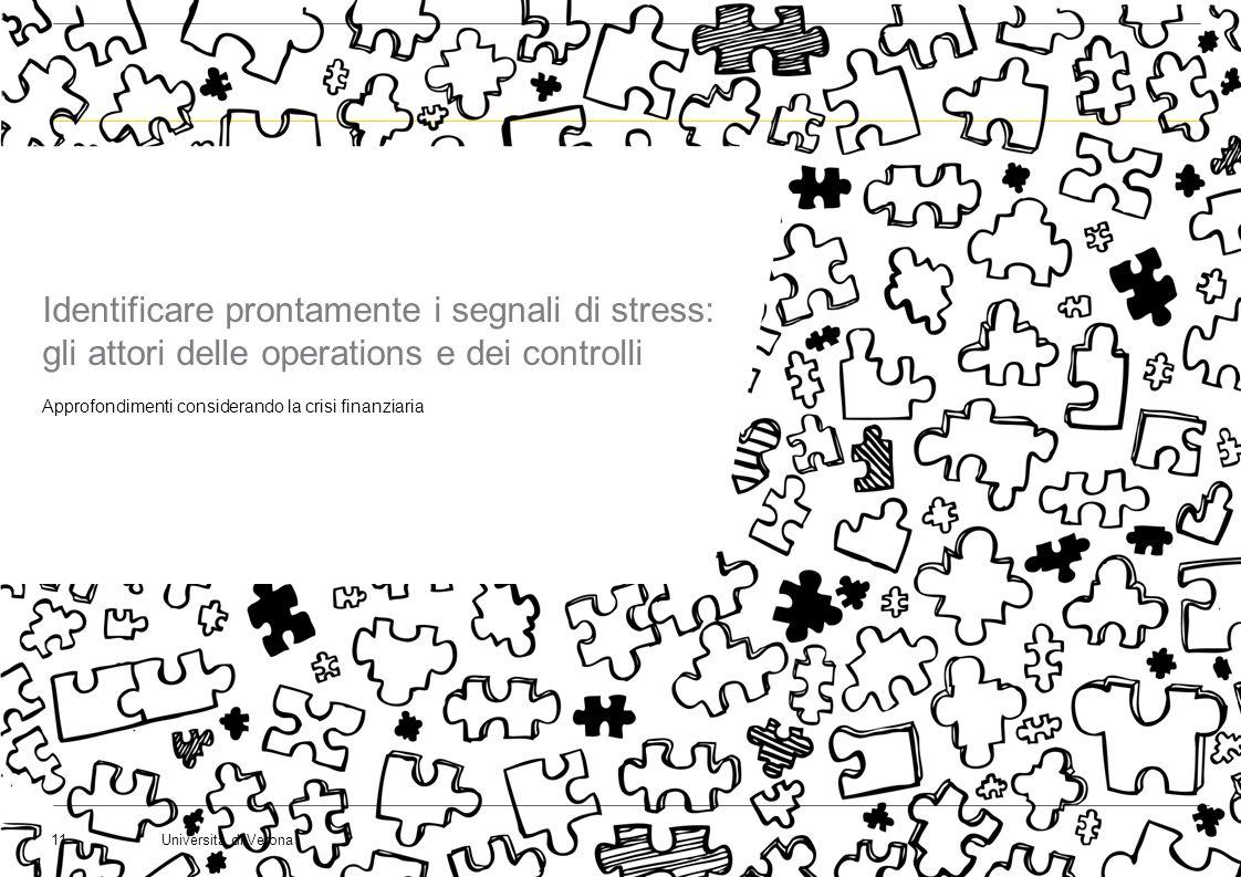 Università di Verona11 Identificare prontamente i segnali di stress: gli attori delle operations e dei controlli Approfondimenti considerando la crisi