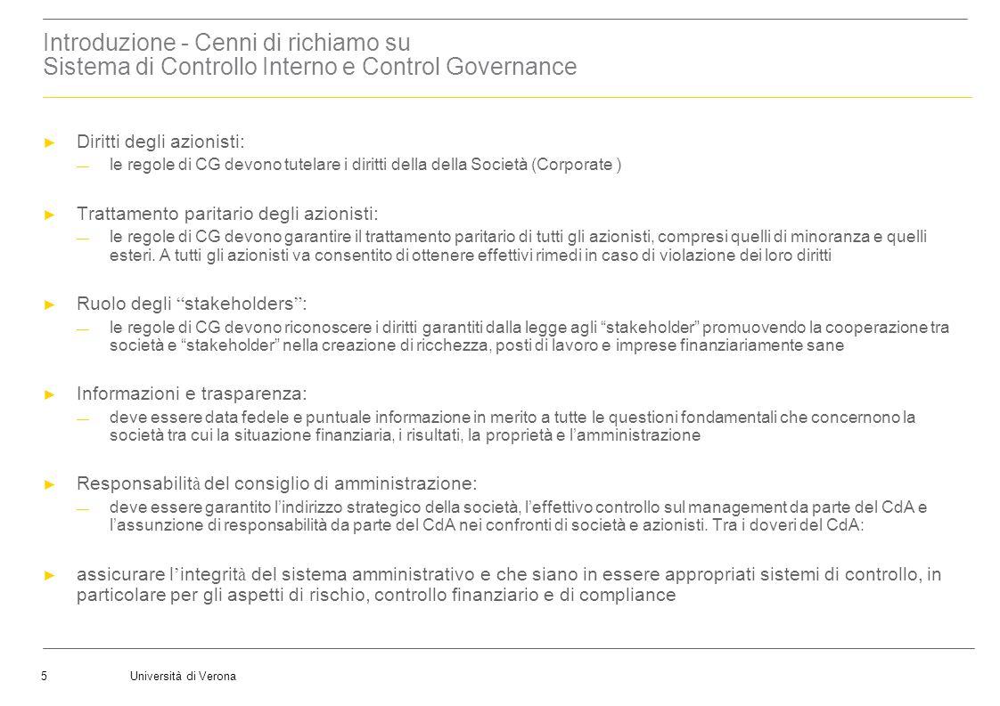 Università di Verona5 Introduzione - Cenni di richiamo su Sistema di Controllo Interno e Control Governance Diritti degli azionisti: le regole di CG d