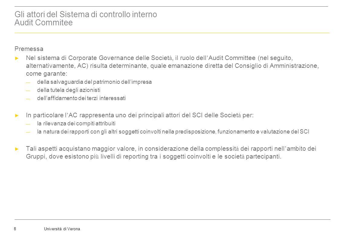 Università di Verona19 LAudit Committee Laudit committee nella normativa domestica