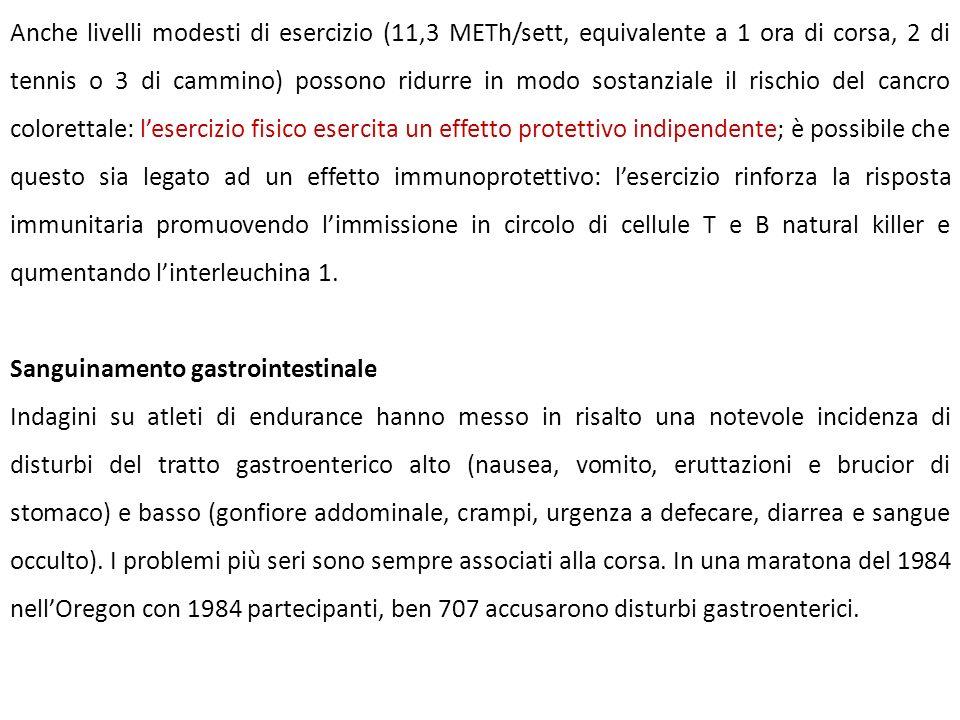 Anche livelli modesti di esercizio (11,3 METh/sett, equivalente a 1 ora di corsa, 2 di tennis o 3 di cammino) possono ridurre in modo sostanziale il r