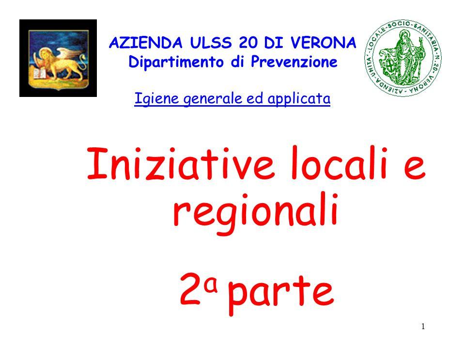 1 AZIENDA ULSS 20 DI VERONA Dipartimento di Prevenzione Igiene generale ed applicata Iniziative locali e regionali 2 a parte