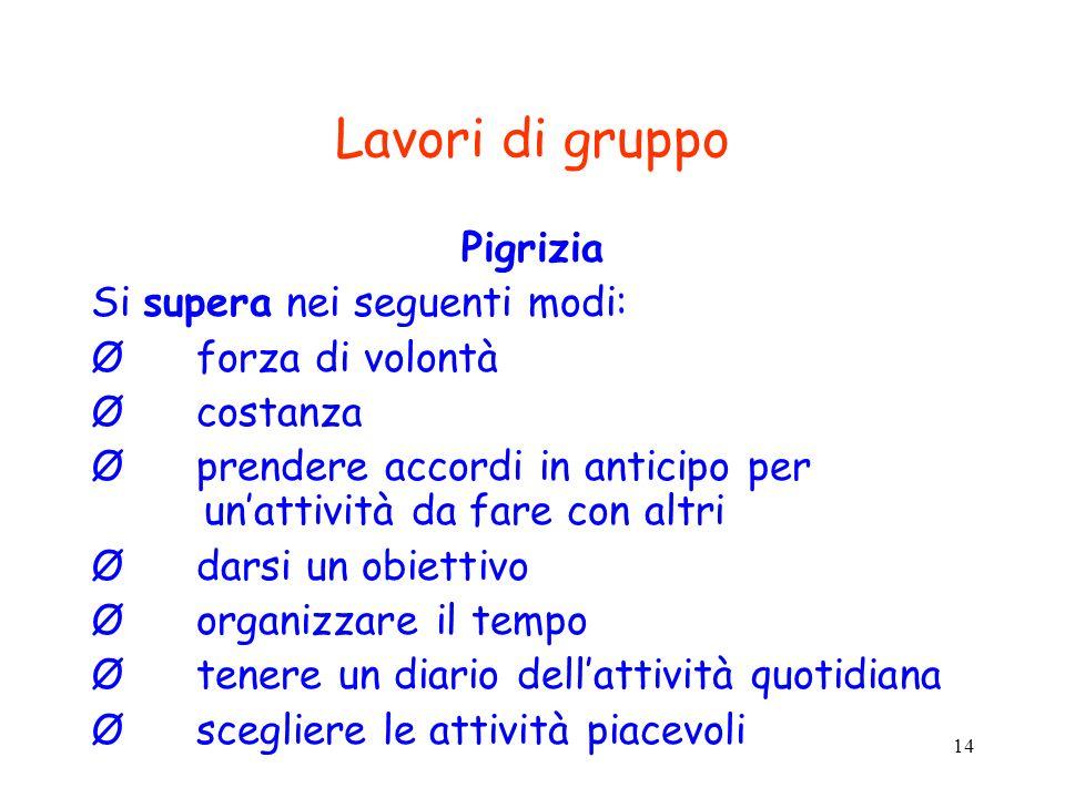 14 Lavori di gruppo Pigrizia Si supera nei seguenti modi: Ø forza di volontà Ø costanza Ø prendere accordi in anticipo per unattività da fare con altr