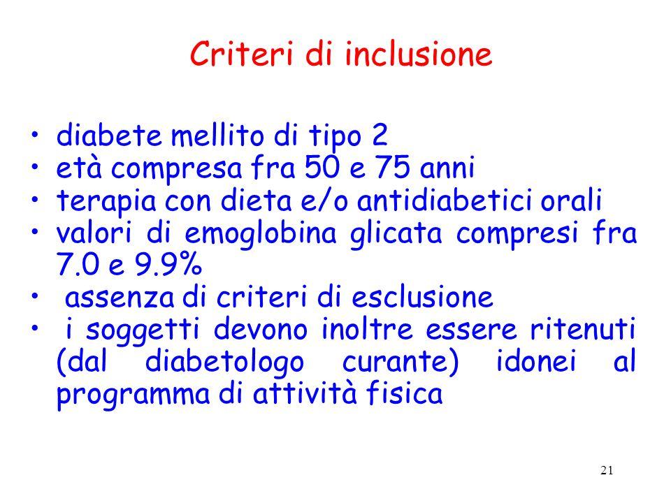 21 Criteri di inclusione diabete mellito di tipo 2 età compresa fra 50 e 75 anni terapia con dieta e/o antidiabetici orali valori di emoglobina glicat