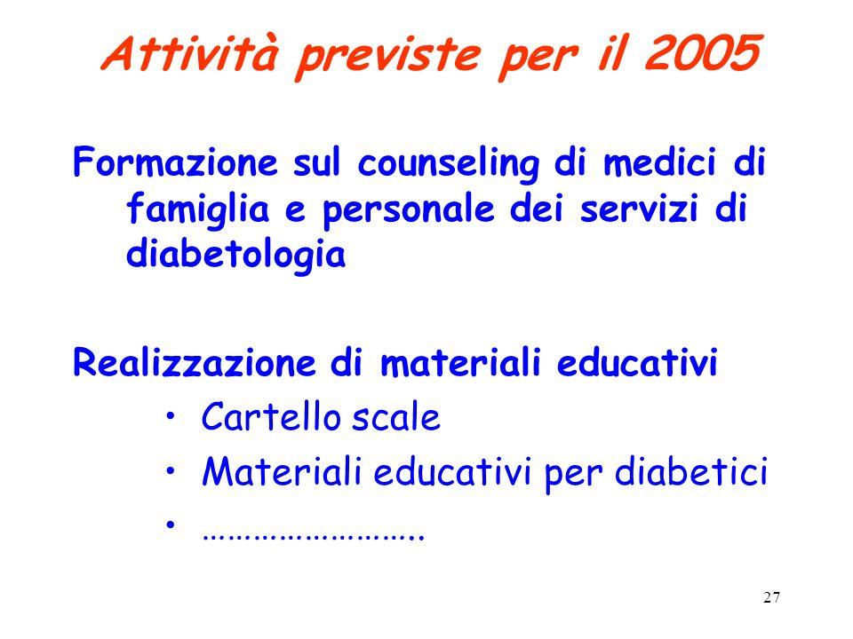 27 Attività previste per il 2005 Formazione sul counseling di medici di famiglia e personale dei servizi di diabetologia Realizzazione di materiali ed