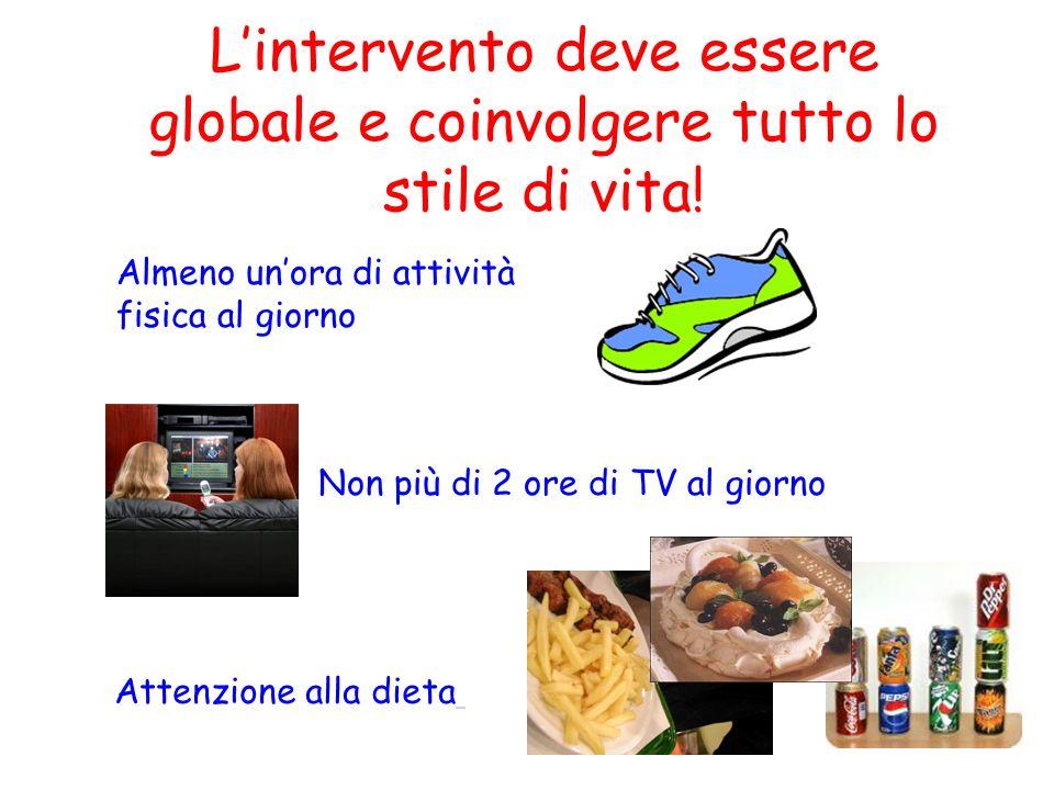 32 Lintervento deve essere globale e coinvolgere tutto lo stile di vita! Non più di 2 ore di TV al giorno Almeno unora di attività fisica al giorno At