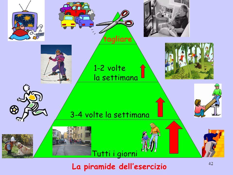 42 tagliare 1-2 volte la settimana 3-4 volte la settimana Tutti i giorni La piramide dellesercizio