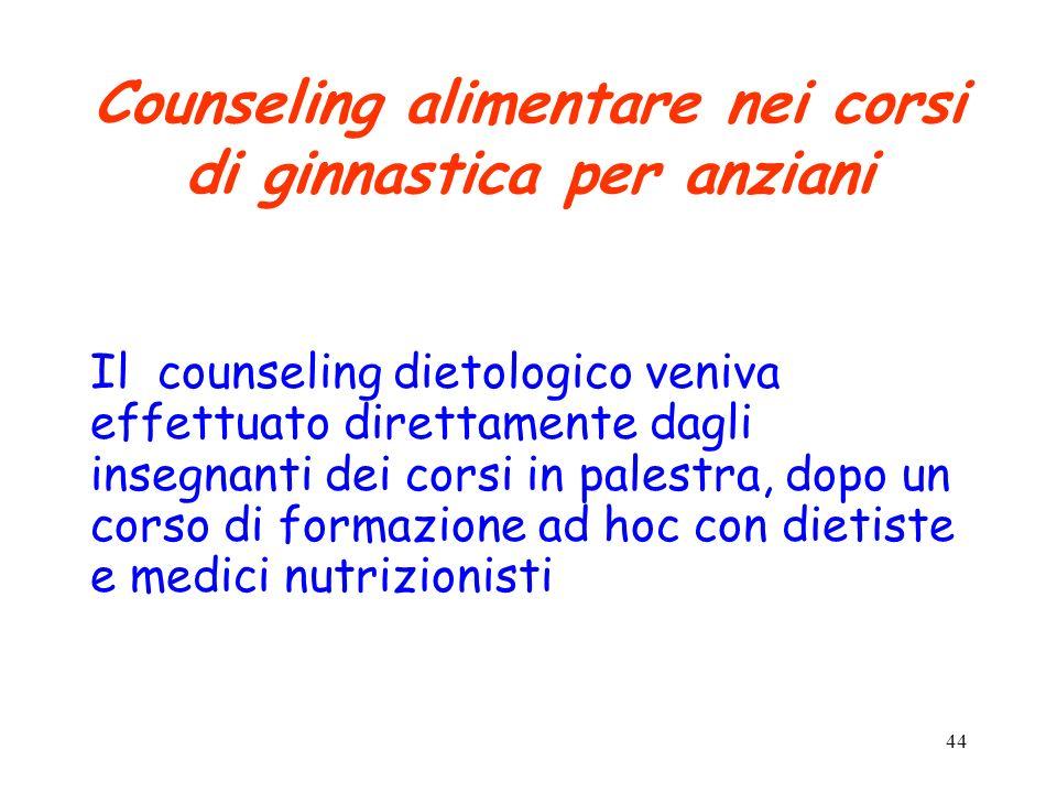 44 Counseling alimentare nei corsi di ginnastica per anziani Il counseling dietologico veniva effettuato direttamente dagli insegnanti dei corsi in pa