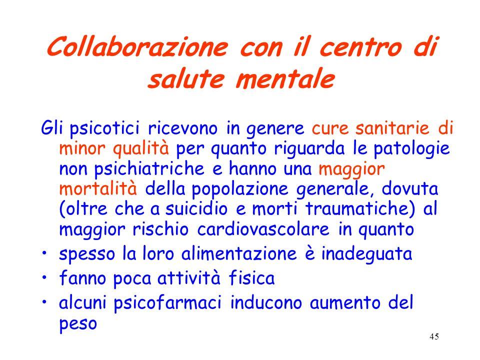 45 Collaborazione con il centro di salute mentale Gli psicotici ricevono in genere cure sanitarie di minor qualità per quanto riguarda le patologie no