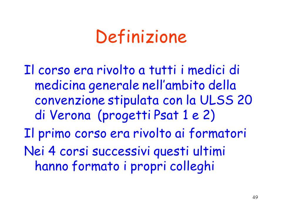 49 Definizione Il corso era rivolto a tutti i medici di medicina generale nellambito della convenzione stipulata con la ULSS 20 di Verona (progetti Ps