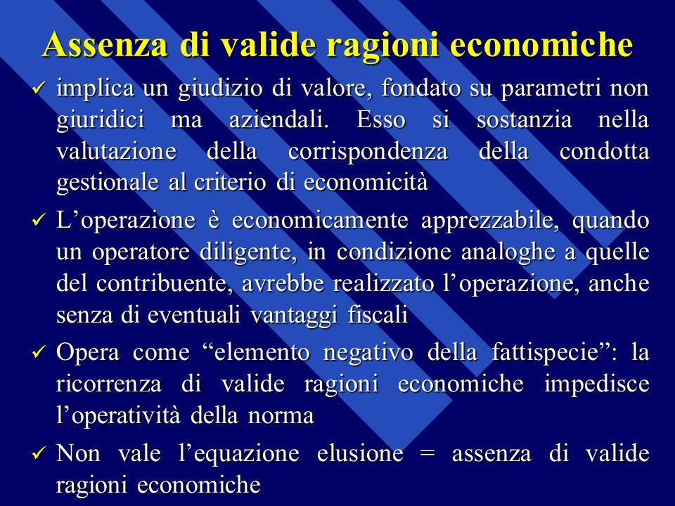 Assenza di valide ragioni economiche implica un giudizio di valore, fondato su parametri non giuridici ma aziendali. Esso si sostanzia nella valutazio