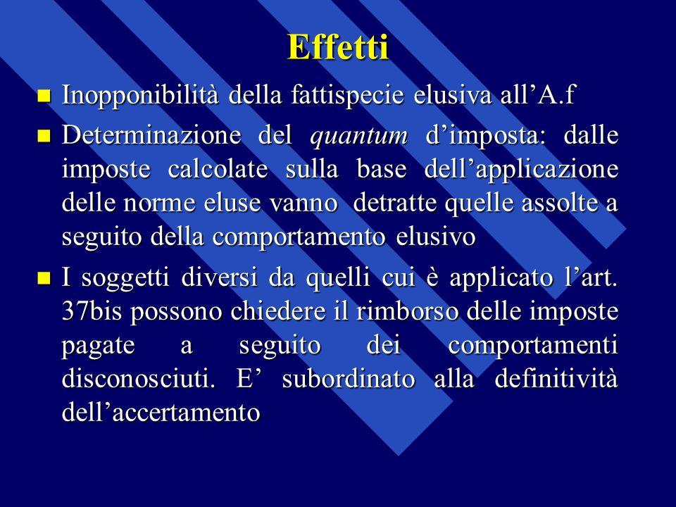 Effetti Inopponibilità della fattispecie elusiva allA.f Inopponibilità della fattispecie elusiva allA.f Determinazione del quantum dimposta: dalle imp