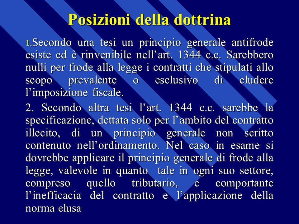 Posizioni della dottrina 1. Secondo una tesi un principio generale antifrode esiste ed è rinvenibile nellart. 1344 c.c. Sarebbero nulli per frode alla