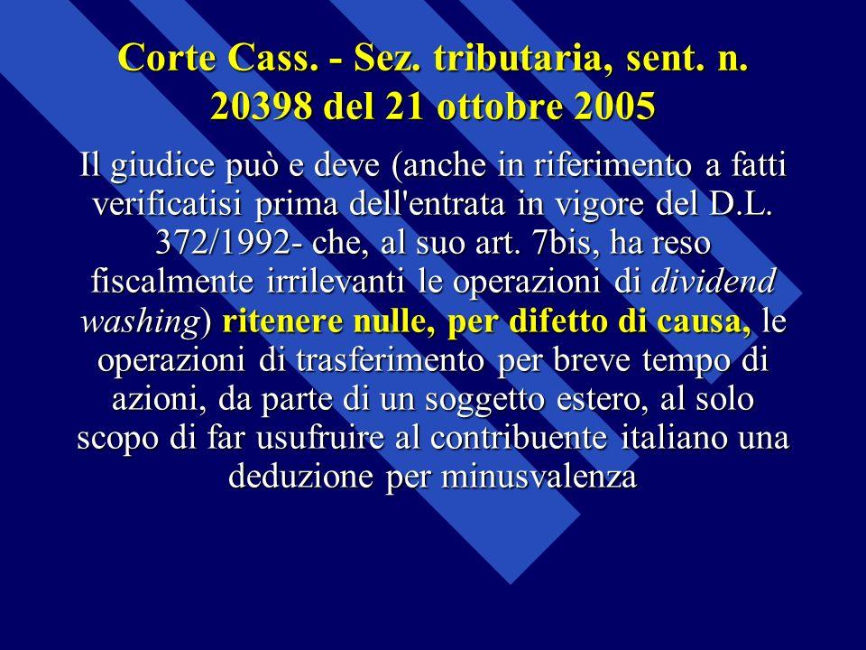 Corte Cass. - Sez. tributaria, sent. n. 20398 del 21 ottobre 2005 Il giudice può e deve (anche in riferimento a fatti verificatisi prima dell'entrata