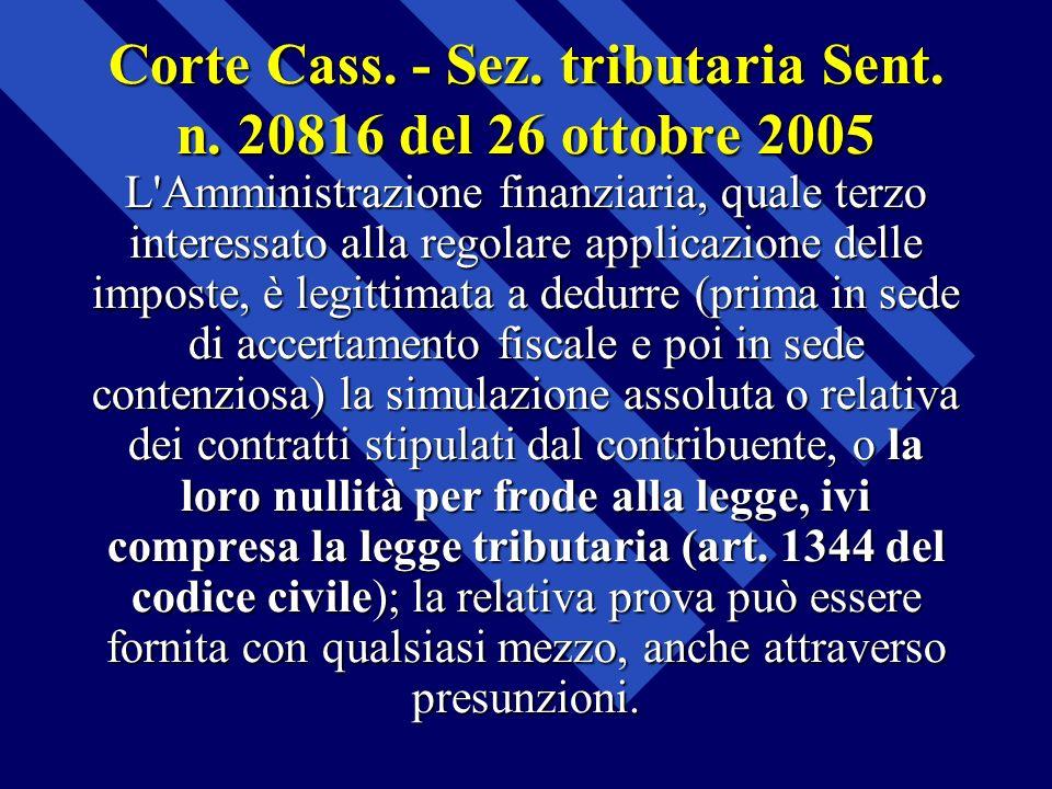 Corte Cass. - Sez. tributaria Sent. n. 20816 del 26 ottobre 2005 L'Amministrazione finanziaria, quale terzo interessato alla regolare applicazione del