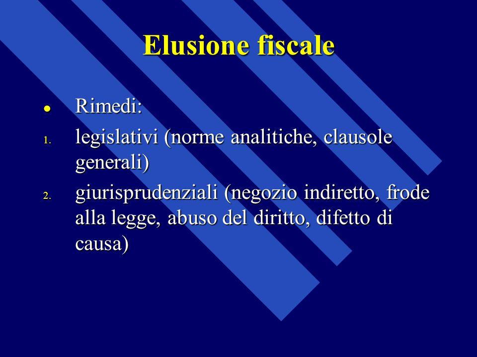 Elusione fiscale Rimedi: Rimedi: 1. legislativi (norme analitiche, clausole generali) 2. giurisprudenziali (negozio indiretto, frode alla legge, abuso