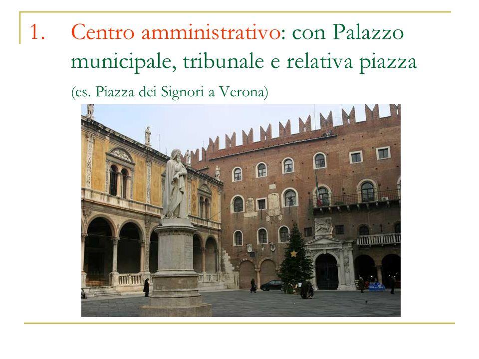 1.Centro amministrativo: con Palazzo municipale, tribunale e relativa piazza (es. Piazza dei Signori a Verona)