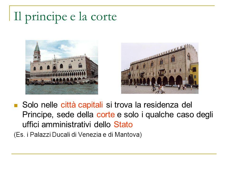 Il principe e la corte Solo nelle città capitali si trova la residenza del Principe, sede della corte e solo i qualche caso degli uffici amministrativ
