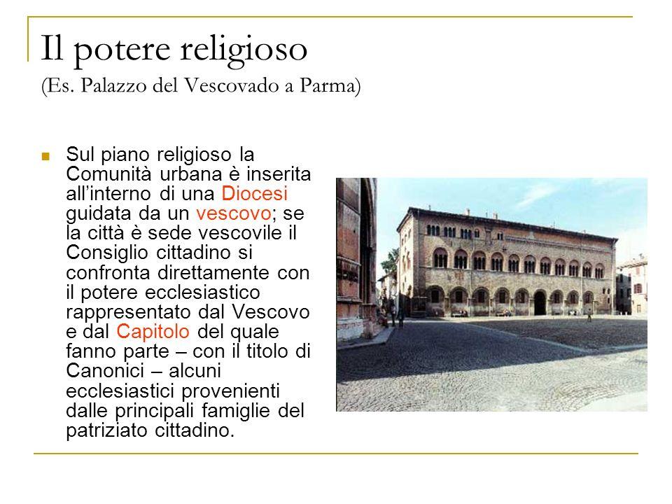 Il potere religioso (Es. Palazzo del Vescovado a Parma) Sul piano religioso la Comunità urbana è inserita allinterno di una Diocesi guidata da un vesc