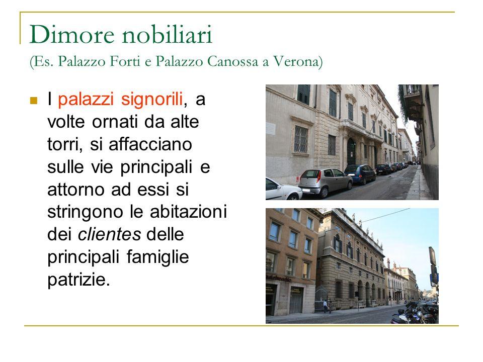 Dimore nobiliari (Es. Palazzo Forti e Palazzo Canossa a Verona) I palazzi signorili, a volte ornati da alte torri, si affacciano sulle vie principali