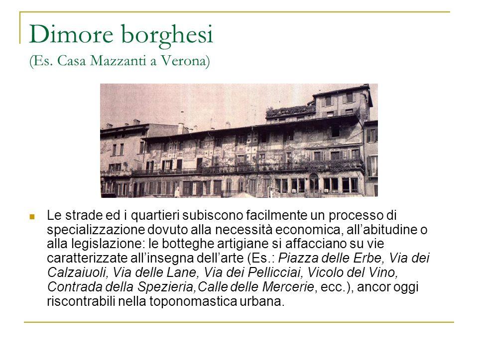 Dimore borghesi (Es. Casa Mazzanti a Verona) Le strade ed i quartieri subiscono facilmente un processo di specializzazione dovuto alla necessità econo