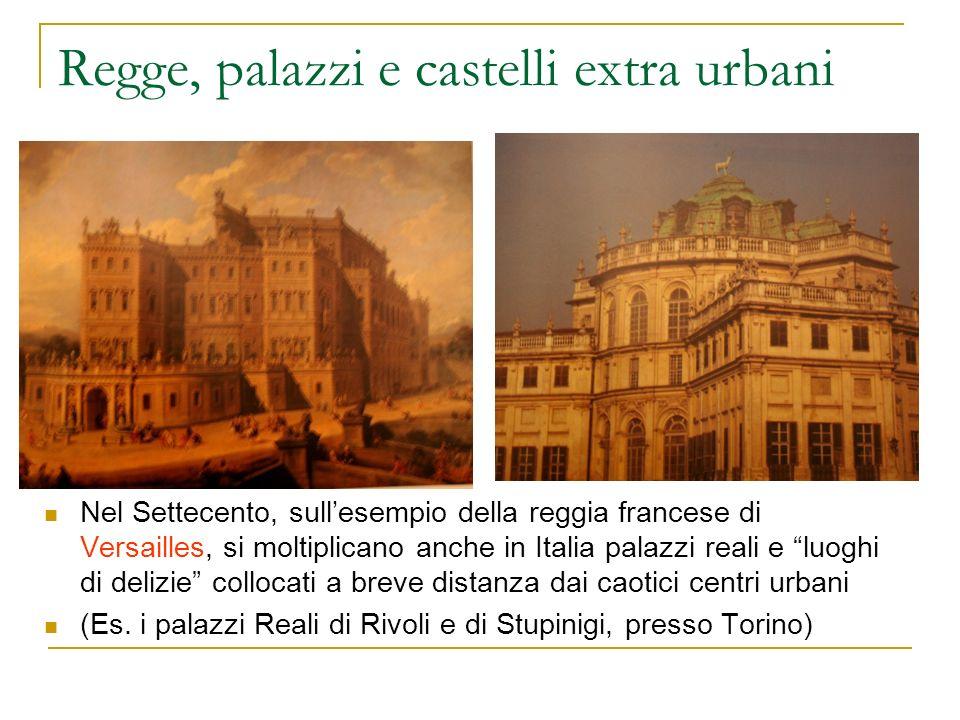 Regge, palazzi e castelli extra urbani Nel Settecento, sullesempio della reggia francese di Versailles, si moltiplicano anche in Italia palazzi reali
