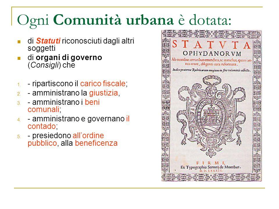 Ogni Comunità urbana è dotata: di Statuti riconosciuti dagli altri soggetti di organi di governo (Consigli) che 1. - ripartiscono il carico fiscale; 2