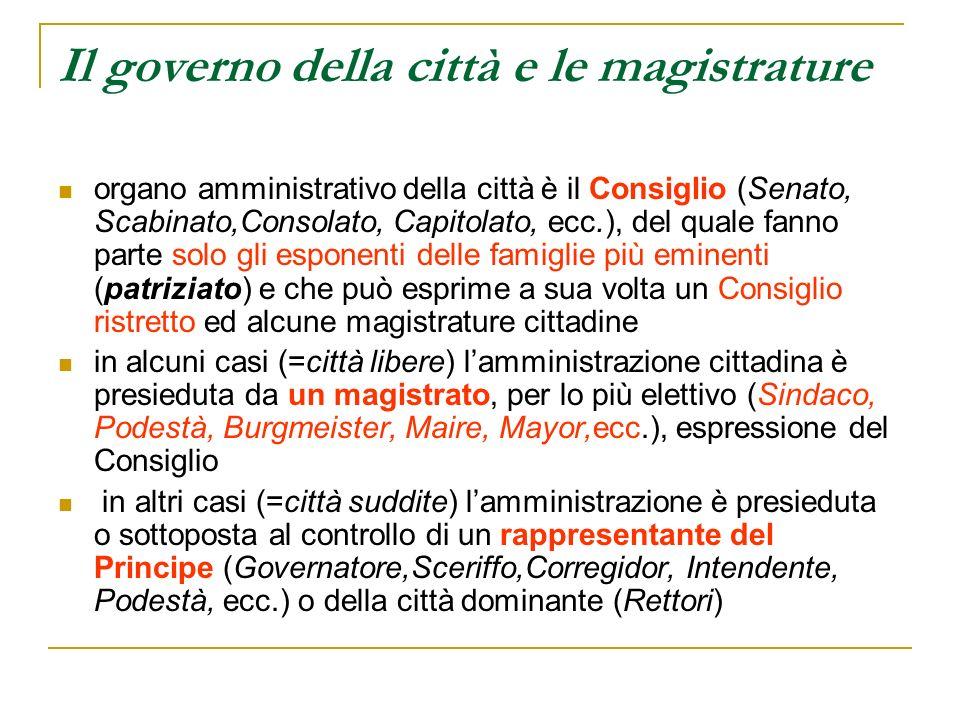 Il governo della città e le magistrature organo amministrativo della città è il Consiglio (Senato, Scabinato,Consolato, Capitolato, ecc.), del quale f