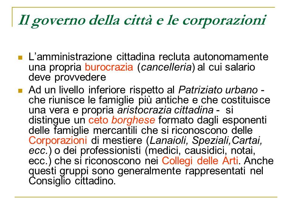 Il governo della città e le corporazioni Lamministrazione cittadina recluta autonomamente una propria burocrazia (cancelleria) al cui salario deve pro