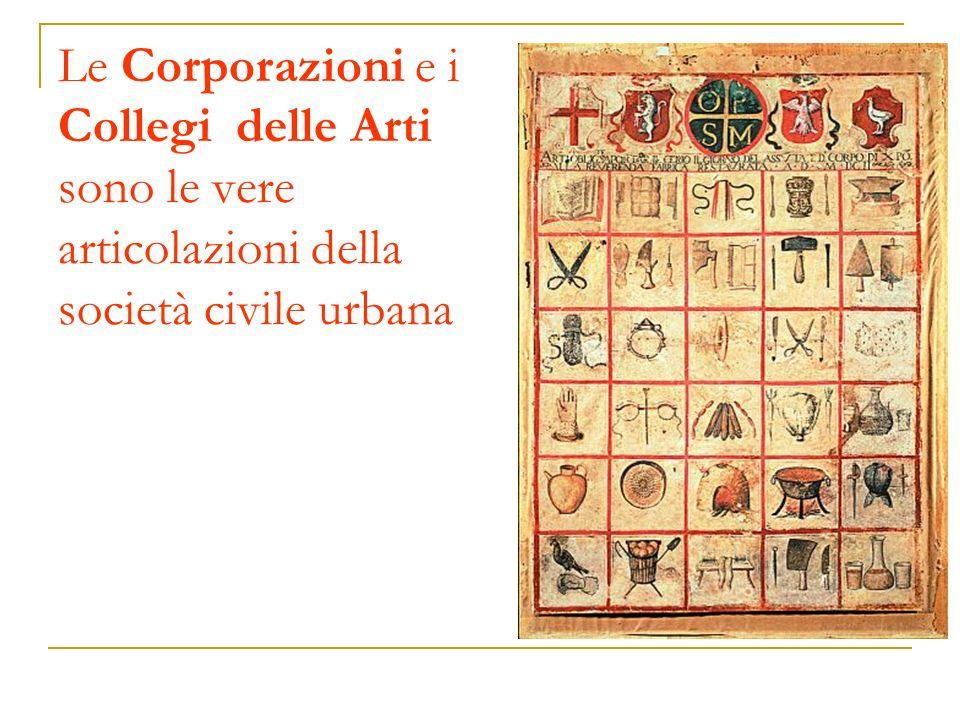 Le Corporazioni e i Collegi delle Arti sono le vere articolazioni della società civile urbana