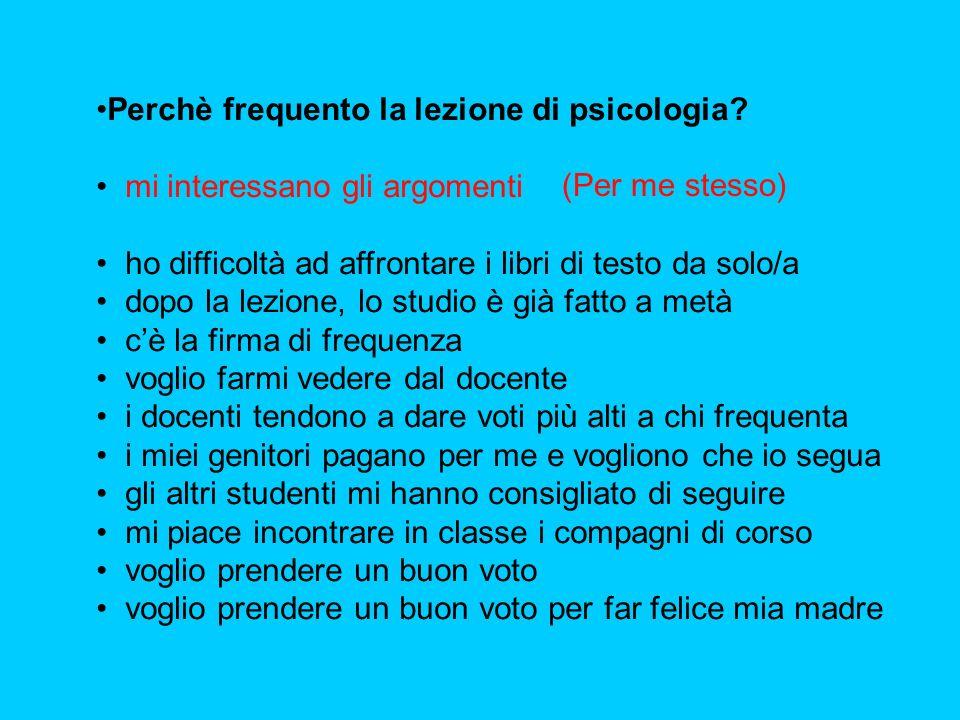 Perchè frequento la lezione di psicologia? mi interessano gli argomenti ho difficoltà ad affrontare i libri di testo da solo/a dopo la lezione, lo stu