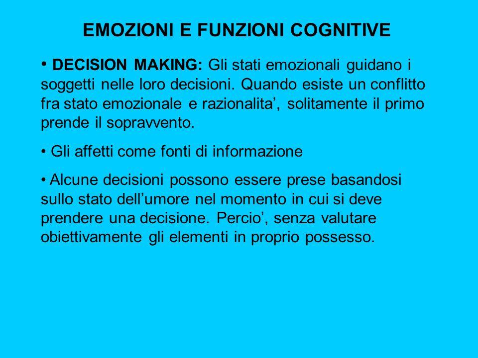 EMOZIONI E FUNZIONI COGNITIVE DECISION MAKING: Gli stati emozionali guidano i soggetti nelle loro decisioni. Quando esiste un conflitto fra stato emoz