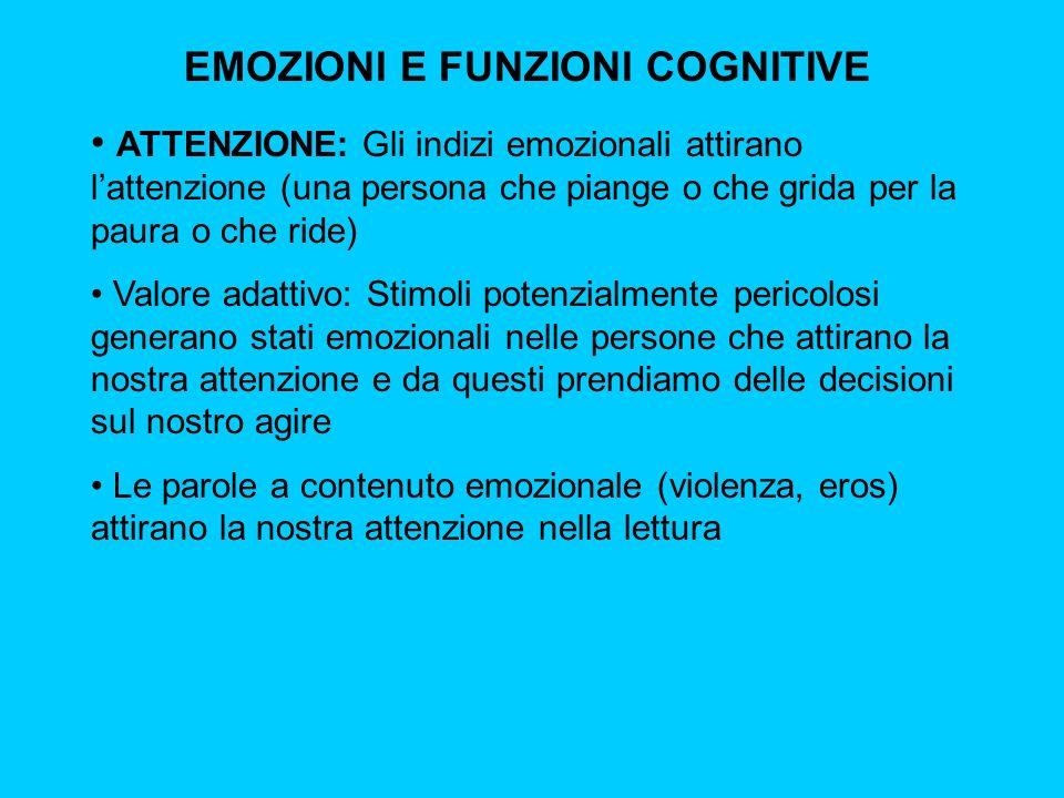 EMOZIONI E FUNZIONI COGNITIVE ATTENZIONE: Gli indizi emozionali attirano lattenzione (una persona che piange o che grida per la paura o che ride) Valo