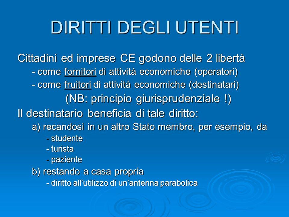DIRITTI DEGLI UTENTI Cittadini ed imprese CE godono delle 2 libertà - come fornitori di attività economiche (operatori) - come fruitori di attività ec