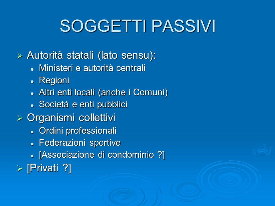 SOGGETTI PASSIVI Autorità statali (lato sensu): Autorità statali (lato sensu): Ministeri e autorità centrali Ministeri e autorità centrali Regioni Reg