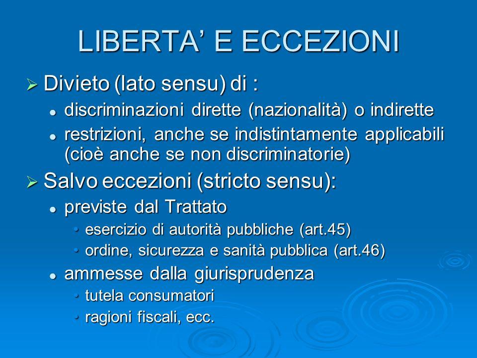 LIBERTA E ECCEZIONI Divieto (lato sensu) di : Divieto (lato sensu) di : discriminazioni dirette (nazionalità) o indirette discriminazioni dirette (naz