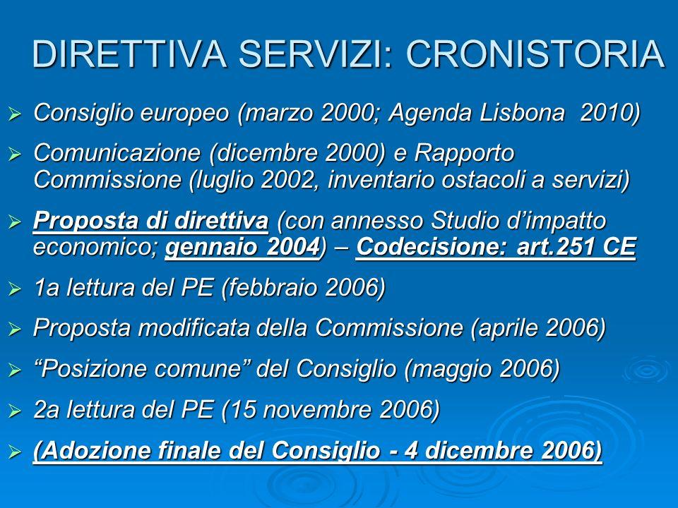 DIRETTIVA SERVIZI: CRONISTORIA Consiglio europeo (marzo 2000; Agenda Lisbona 2010) Consiglio europeo (marzo 2000; Agenda Lisbona 2010) Comunicazione (dicembre 2000) e Rapporto Commissione (luglio 2002, inventario ostacoli a servizi) Comunicazione (dicembre 2000) e Rapporto Commissione (luglio 2002, inventario ostacoli a servizi) Proposta di direttiva (con annesso Studio dimpatto economico; gennaio 2004) – Codecisione: art.251 CE Proposta di direttiva (con annesso Studio dimpatto economico; gennaio 2004) – Codecisione: art.251 CE 1a lettura del PE (febbraio 2006) 1a lettura del PE (febbraio 2006) Proposta modificata della Commissione (aprile 2006) Proposta modificata della Commissione (aprile 2006) Posizione comune del Consiglio (maggio 2006) Posizione comune del Consiglio (maggio 2006) 2a lettura del PE (15 novembre 2006) 2a lettura del PE (15 novembre 2006) (Adozione finale del Consiglio - 4 dicembre 2006) (Adozione finale del Consiglio - 4 dicembre 2006)
