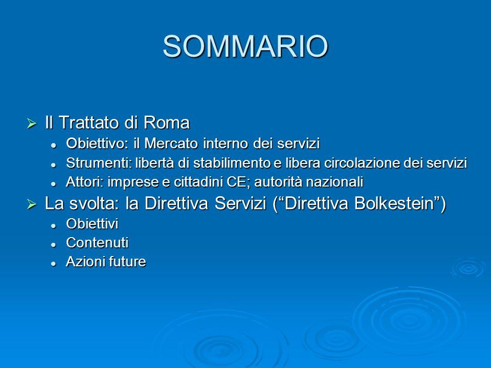 SOMMARIO Il Trattato di Roma Il Trattato di Roma Obiettivo: il Mercato interno dei servizi Obiettivo: il Mercato interno dei servizi Strumenti: libert