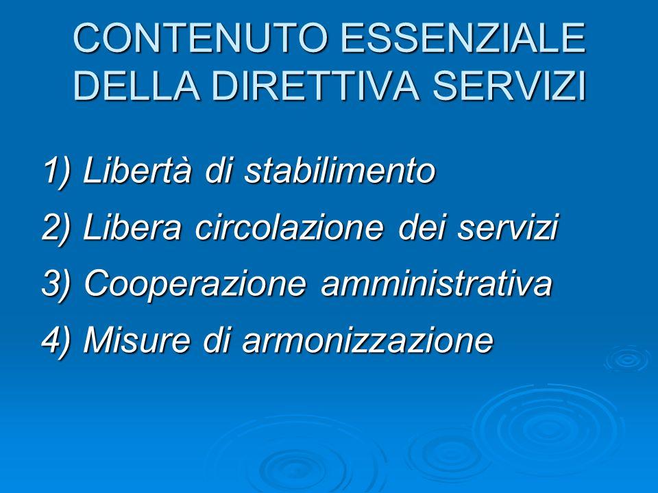 CONTENUTO ESSENZIALE DELLA DIRETTIVA SERVIZI 1) Libertà di stabilimento 2) Libera circolazione dei servizi 3) Cooperazione amministrativa 4) Misure di armonizzazione