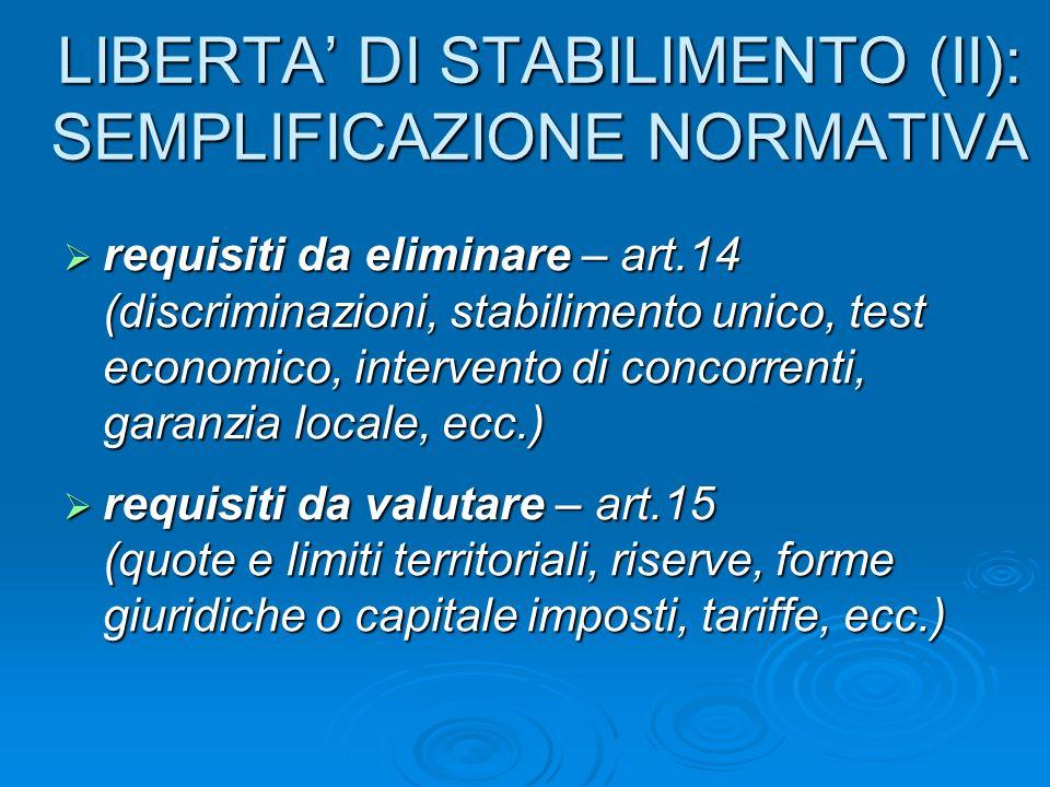 LIBERTA DI STABILIMENTO (II): SEMPLIFICAZIONE NORMATIVA requisiti da eliminare – art.14 (discriminazioni, stabilimento unico, test economico, interven