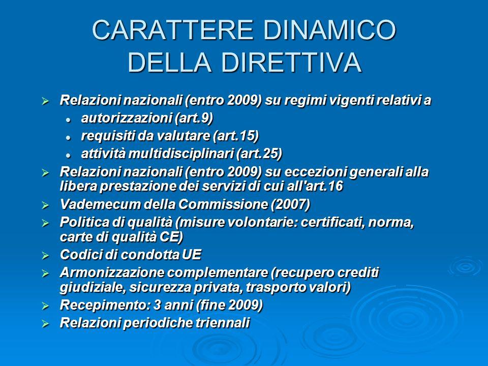 CARATTERE DINAMICO DELLA DIRETTIVA Relazioni nazionali (entro 2009) su regimi vigenti relativi a Relazioni nazionali (entro 2009) su regimi vigenti relativi a autorizzazioni (art.9) autorizzazioni (art.9) requisiti da valutare (art.15) requisiti da valutare (art.15) attività multidisciplinari (art.25) attività multidisciplinari (art.25) Relazioni nazionali (entro 2009) su eccezioni generali alla libera prestazione dei servizi di cui all art.16 Relazioni nazionali (entro 2009) su eccezioni generali alla libera prestazione dei servizi di cui all art.16 Vademecum della Commissione (2007) Vademecum della Commissione (2007) Politica di qualità (misure volontarie: certificati, norma, carte di qualità CE) Politica di qualità (misure volontarie: certificati, norma, carte di qualità CE) Codici di condotta UE Codici di condotta UE Armonizzazione complementare (recupero crediti giudiziale, sicurezza privata, trasporto valori) Armonizzazione complementare (recupero crediti giudiziale, sicurezza privata, trasporto valori) Recepimento: 3 anni (fine 2009) Recepimento: 3 anni (fine 2009) Relazioni periodiche triennali Relazioni periodiche triennali