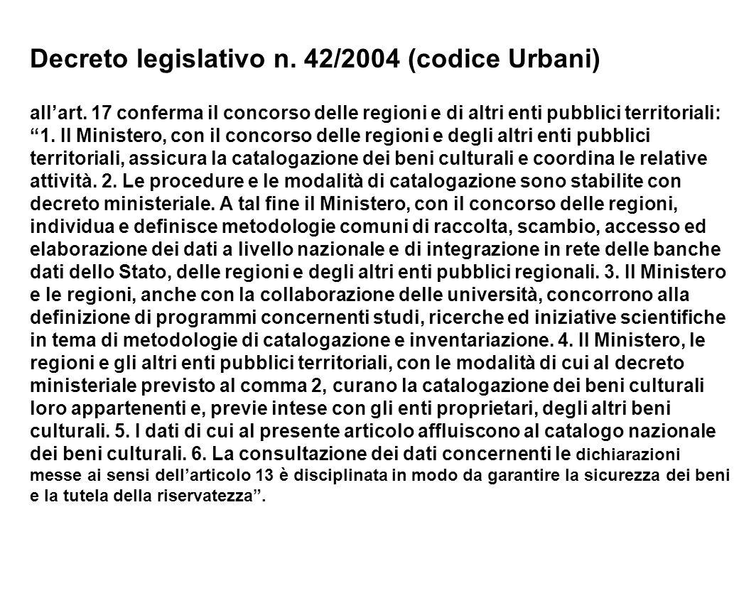 Decreto legislativo n. 42/2004 (codice Urbani) allart. 17 conferma il concorso delle regioni e di altri enti pubblici territoriali: 1. Il Ministero, c