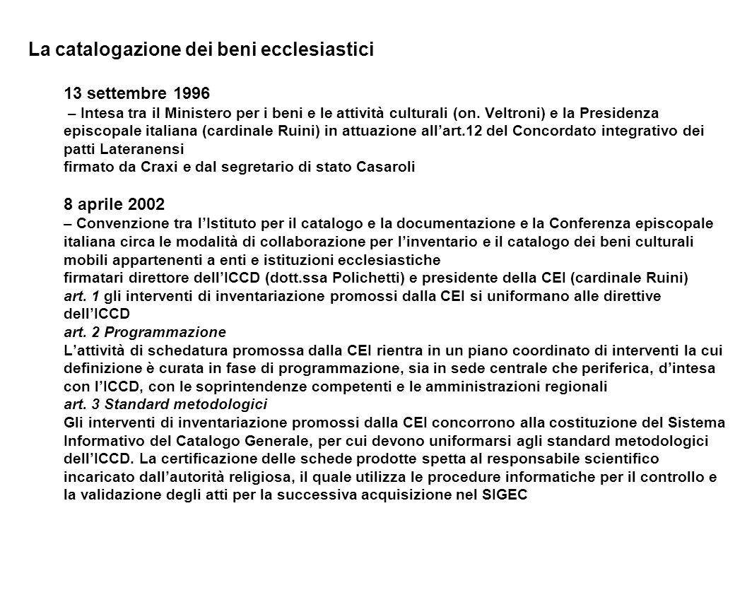La catalogazione dei beni ecclesiastici 13 settembre 1996 – Intesa tra il Ministero per i beni e le attività culturali (on. Veltroni) e la Presidenza