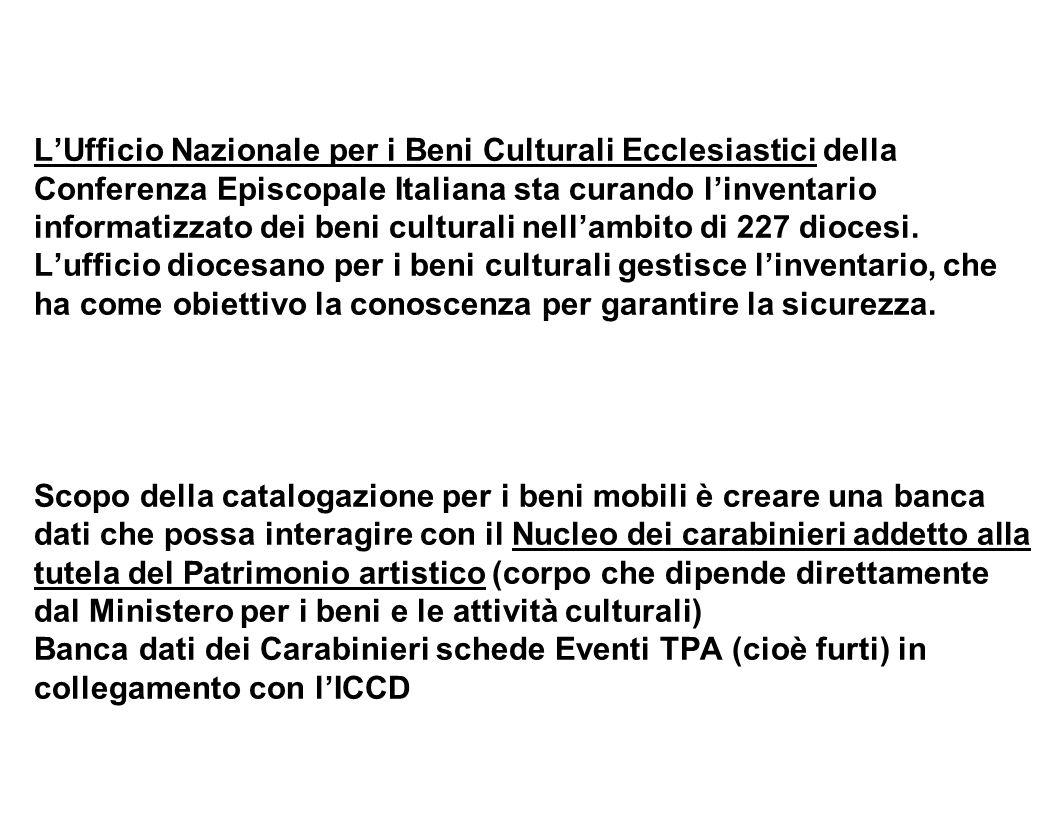 LUfficio Nazionale per i Beni Culturali Ecclesiastici della Conferenza Episcopale Italiana sta curando linventario informatizzato dei beni culturali n