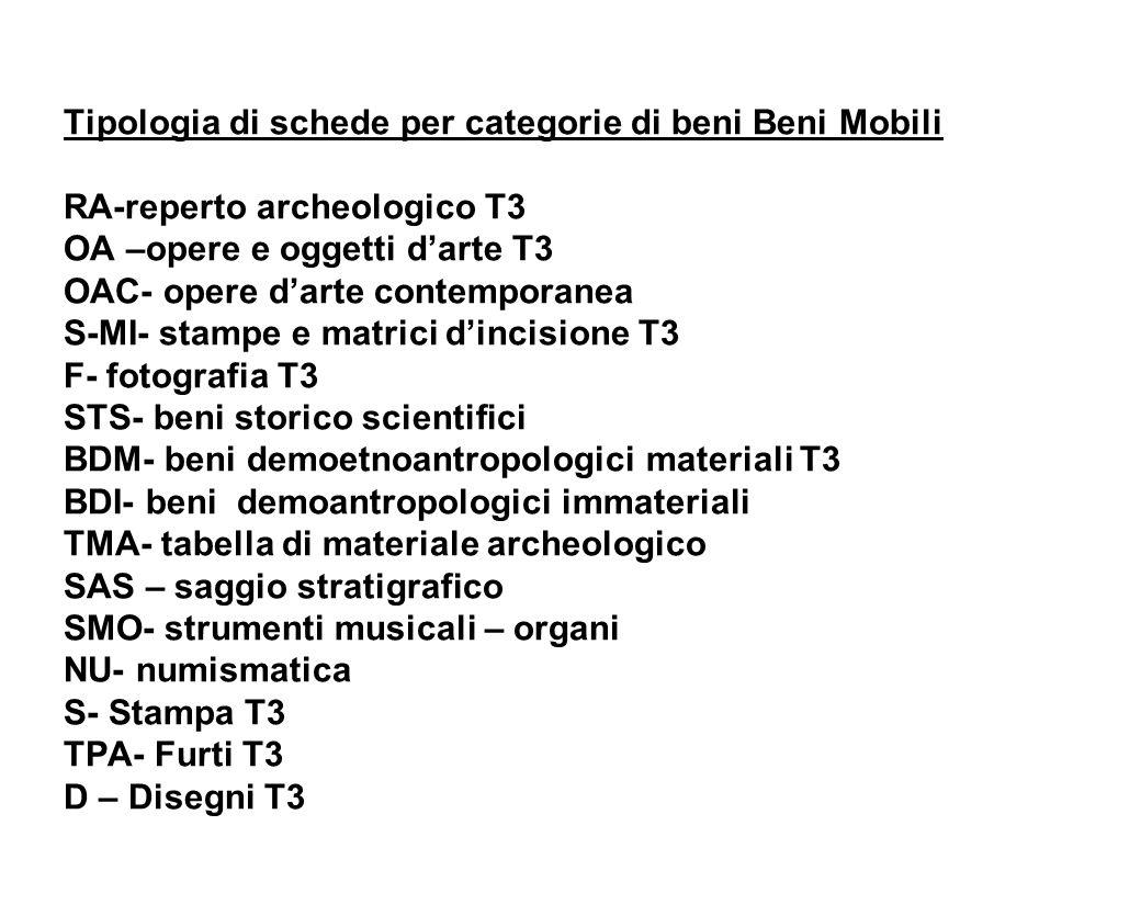 Tipologia di schede per categorie di beni Beni Mobili RA-reperto archeologico T3 OA –opere e oggetti darte T3 OAC- opere darte contemporanea S-MI- sta