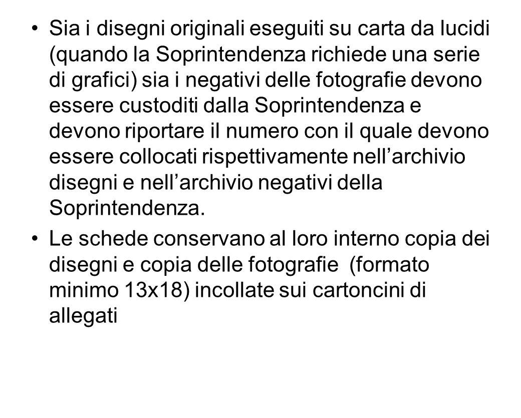 Sia i disegni originali eseguiti su carta da lucidi (quando la Soprintendenza richiede una serie di grafici) sia i negativi delle fotografie devono es