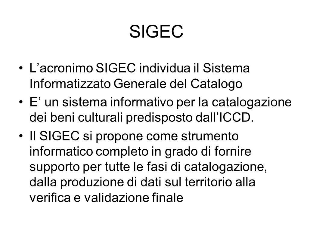 SIGEC Lacronimo SIGEC individua il Sistema Informatizzato Generale del Catalogo E un sistema informativo per la catalogazione dei beni culturali predi