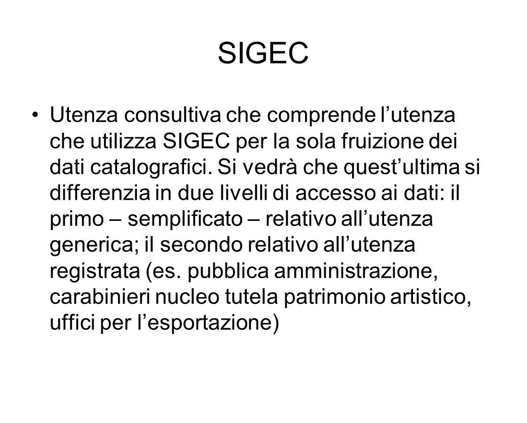 SIGEC Utenza consultiva che comprende lutenza che utilizza SIGEC per la sola fruizione dei dati catalografici. Si vedrà che questultima si differenzia