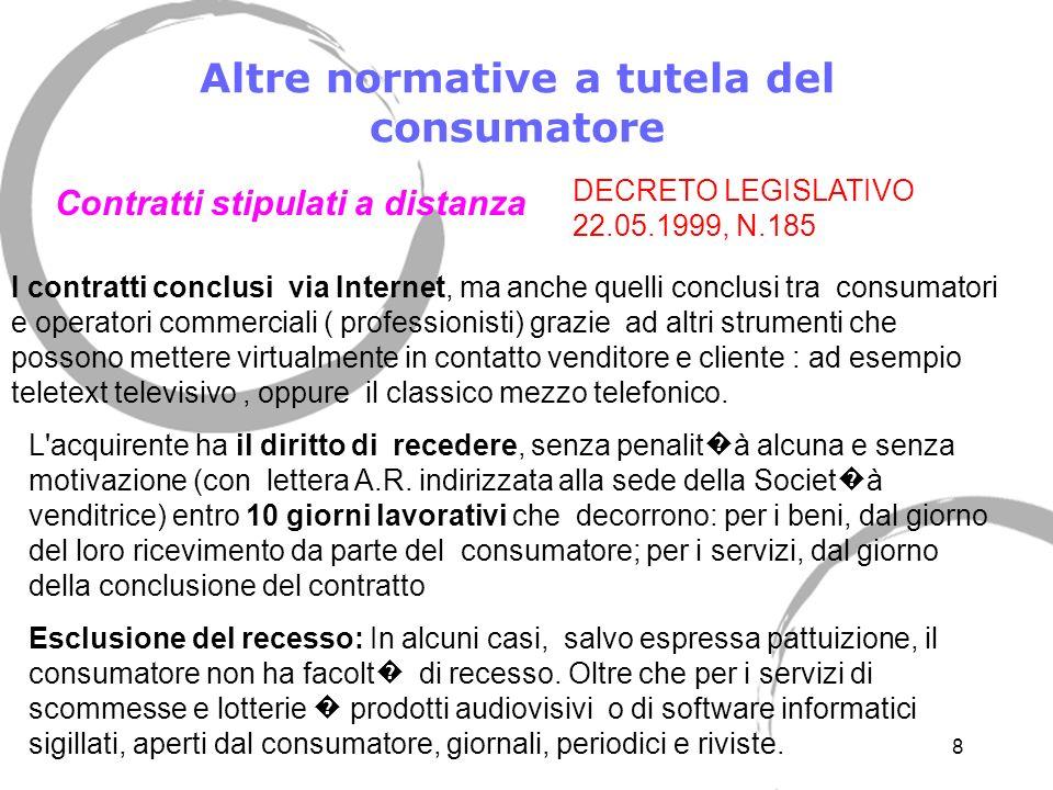 7 Altre normative a tutela del consumatore Contratti negoziati fuori dai locali commerciali I contratti stipulati fuori dai locali commerciali si cara