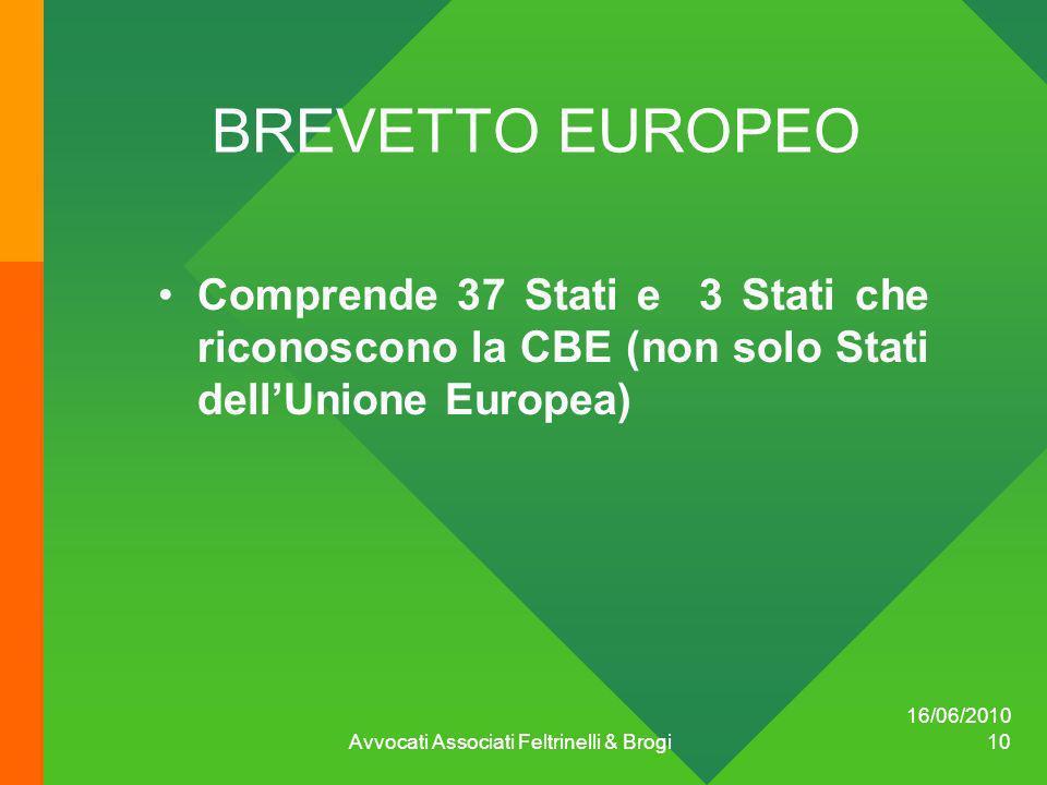 16/06/2010 Avvocati Associati Feltrinelli & Brogi 10 BREVETTO EUROPEO Comprende 37 Stati e 3 Stati che riconoscono la CBE (non solo Stati dellUnione E